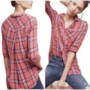 CLOTH & STONE Anthropology plaid shirt hot pink SM